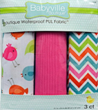 3pc PUL fabric kit from Babyville in packaging (medium pink, white with blue/green/orange/red/pink chevron pattern white in between each colour, white with same colourway cartoon birds)
