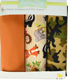 3pc PUL fabric kit from Babyville in packaging (orange, tan/green/black camouflage, tan woodgrain with friendly woodland creatures)