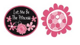 2 Pink Floral appliques - black oval with pink border and pink flowers with white text 'Let Me Be The Princess', cut-out pink flower with large pink and white hexagons in the centre