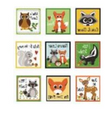 9 pack of Forest designs - 9 square labels including raccoons, deer, foxes, squirrels, owls and skunks