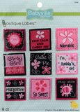 9 pack of Pink Floral designs - 9 square labels including pink and white flowers on black and pink backgrounds