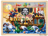 48-piece wooden jigsaw puzzle in packaging in style pirate adventure (cartoon pirate ship on sea with sea monster)