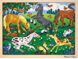48-piece wooden jigsaw puzzle in packaging in style frolicking horses (assorted cartoon horses in forest field)