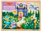 48-piece wooden jigsaw puzzle in packaging in style fairy fantasy (cartoon fairies and castle)
