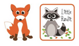 2 Forest Friends appliques - cut-out cartoon orange fox; square white patch with orange border and cartoon raccoon with leaves and black text 'Little Bandit'
