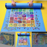 Blue puzzle roll away mat in use (rolled)