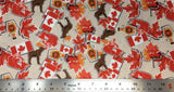 Flat swatch cartoon moose and maple printed fabric in beige (light beige fabric with tossed Canada themed stickers in full colour with white edges: maple leaves, Canadian flags, maple syrup jugs, moose)