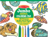 """Jumbo ANIMAL COLORiNG PAD"" ""50 Pictures"" ""Quality Bonded Paper"". Text on a green and yellow circle with coloured line drawings of animals such as fish, snake and duck, and crayon, marker, pencil and paint brush on top at the bottom."