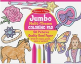 """Jumbo Multi-Theme COLORiNG PAD"" ""50 Pictures"" ""Quality Bonded Paper"". Text on a pink and yellow circle with coloured line drawings of heart, horse, butterfly, princess, flower, and ring, and crayon, marker, pencil and paint brush on top at the bottom."