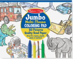 """Jumbo Multi-Theme COLORiNG PAD"" ""50 Pictures"" ""Quality Bonded Paper"".  Text on a blue and yellow circle with coloured line drawings of vehicles and animals, and crayon, marker, pencil and paint brush on top at the bottom."