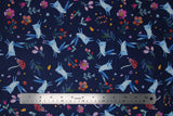 Flat swatch woodland bunnies printed fabric in navy