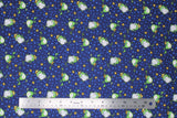 Flat swatch magical themed printed fabric in print frog prince (dark blue fabric with tiny light blue stars tossed and cartoon green frogs with gold crowns and gold stars)
