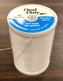 A 250yd spool of Coats & Clark Dual Duty All Purpose thread in white