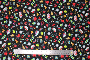 Group swatch assorted camping themed fabrics in various styles/colours