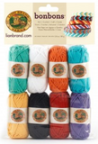 Package of 8 mini yarn balls in collection Beach (green, white, orange, blue, yellow, black, red, lavender)