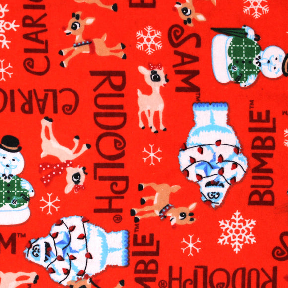 Square swatch Rudolf the Red Nosed Reindeer licensed print fabric on red