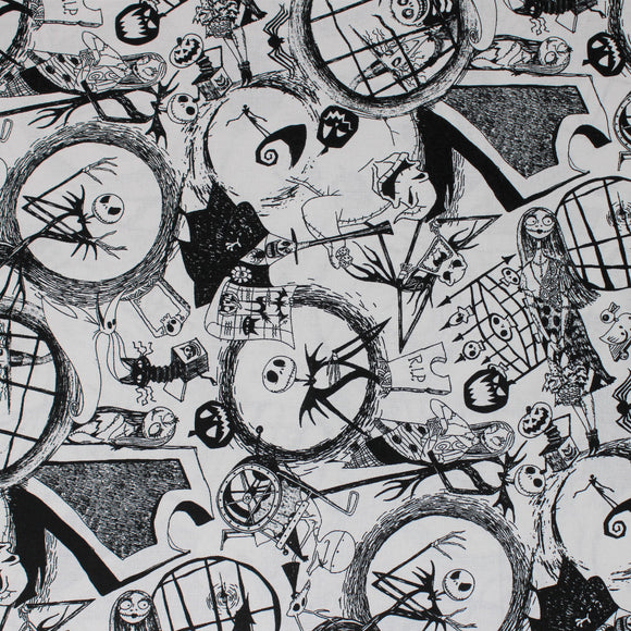 Square swatch Nightmare Before Christmas themed fabric (white fabric with black NBC sketches Jack and Sally, Halloweentown, etc.)