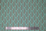 Flat swatch Minecraft (licensed) printed fabric in Minecraft icons (swords, hearts, etc. tiny print on light turquoise blue/green)