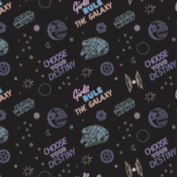 "Star Wars Knit Print - ""Girls Rule the Galaxy"" - 58"" - Cotton/spandex blend"