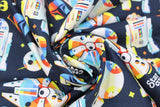 Swirled swatch Star Wars licensed print fabric in Retro Throwback