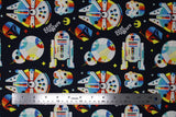 Flat swatch Star Wars licensed print fabric in Retro Throwback