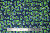 "Flat swatch licensed Star Wars (The Child) printed fabric in Child Cut Out Logo (blue/green ""Star Wars"" text and baby yoda heads on blue)"