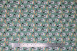 Flat swatch licensed Star Wars (The Child) printed fabric in Mando Hello Friend (trooper and baby yoda on green)