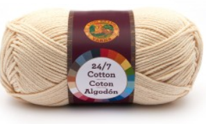 A single ball of Lion Brand 24/7 Cotton in Ecru