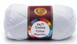 A single ball of Lion Brand 24/7 Cotton in White