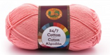 A single ball of Lion Brand 24/7 Cotton in Pink