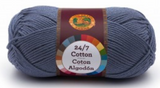 A single ball of Lion Brand 24/7 Cotton in Denim