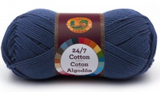 A single ball of Lion Brand 24/7 Cotton in Navy
