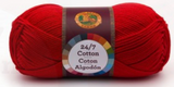 A single ball of Lion Brand 24/7 Cotton in Red