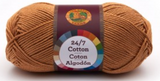 A single ball of Lion Brand 24/7 Cotton in Camel