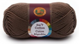 A single ball of Lion Brand 24/7 Cotton in Cafe Au Lait