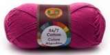 A single ball of Lion Brand 24/7 Cotton in Rose