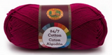 A single ball of Lion Brand 24/7 Cotton in Magenta