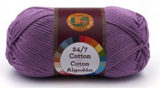 A single ball of Lion Brand 24/7 Cotton in Purple