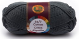 A single ball of Lion Brand 24/7 Cotton in Charcoal