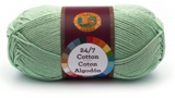 A single ball of Lion Brand 24/7 Cotton in Mint
