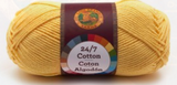 A single ball of Lion Brand 24/7 Cotton in Lemon