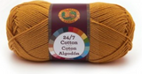 A single ball of Lion Brand 24/7 Cotton in Goldenrod