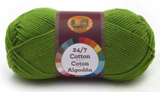 A single ball of Lion Brand 24/7 Cotton in Grass