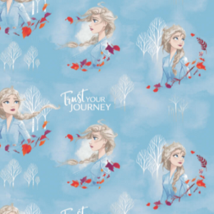 "Licensed quilting cotton print from Frozen 2.  Bust of Elsa looking in various directions with her blonde hair blowing in the wind, sometimes with orange and purple leaves swirling around, sometimes with the white silhouette of bare trees behind her, with the phrase ""Trust YOUR JOURNEY"" scattered in between.  Pale blue and white mottled background echoes the soft yet chilly theme of the film."