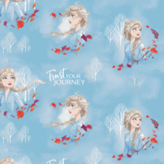 Licensed quilting cotton print from Frozen 2.  Bust of Elsa looking in various directions with her blonde hair blowing in the wind, sometimes with orange and purple leaves swirling around, sometimes with the white silhouette of bare trees behind her, with the phrase
