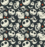 Swatch of licensed quilting cotton for Nightmare Before Christmas. White heads at odd angles with Zero (the ghost dog), bats, and red accent shapes on a black background.