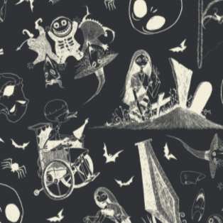 Swatch of licensed quilting cotton for Nightmare Before Christmas.  White outlined figures on a black background, including Sally the Ragdoll picking flowers by headstones, the trick-or-treaters (Boogie's Boys) Lock (the devil) and Shock (the witch) hold up Barrel (the skeleton) by his ankles, and Dr. Finkelstein (the mad scientist) in his wheel chair.  These scenes float among character heads and bats and spiders.