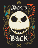 "Panel of licensed quilting cotton for Nightmare Before Christmas. Jack Skellington's round skull looks straight ahead filling the centre of the panel, with text ""Jack is"" above and ""Back"" below. Behind, an orange and black striped snake winds among angular bare branches. Top left is a rickety gothic house with teal roof and taupe walls, and mid right is a taupe and teal spider. Above the text, a small taupe jack o'lantern, and below the bottom text, taupe crossed bones. Black background."