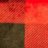 Swatch of red and black buffalo plaid fleece flannel