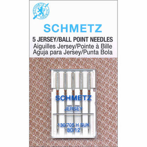 Pack of 5 ballpoint sewing machine needles (12/80)